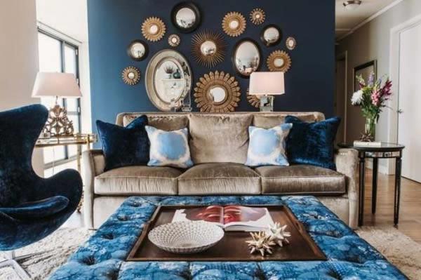 Interieur blauw en fluweel