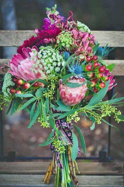 Boeket van tropische bloemen Protea