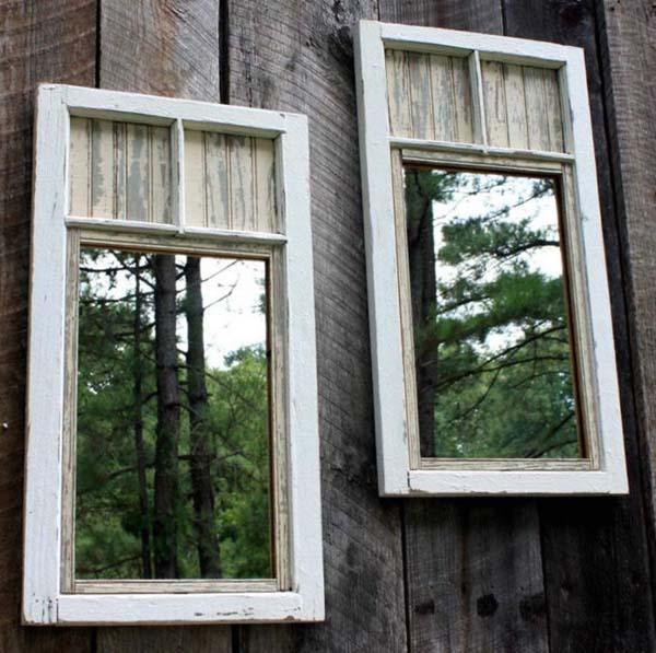 Decoraties tuin oude spiegels